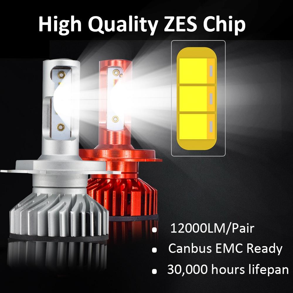 Image 2 - YHKOMS Canbus H4 H7 H1 H11 LED 4300K 5000K 6500K 8000K Car Headlight H3 H8 H9 H11 880 881 LED Bulb Auto Fog Lamp 12000LM ZES-in Car Headlight Bulbs(LED) from Automobiles & Motorcycles
