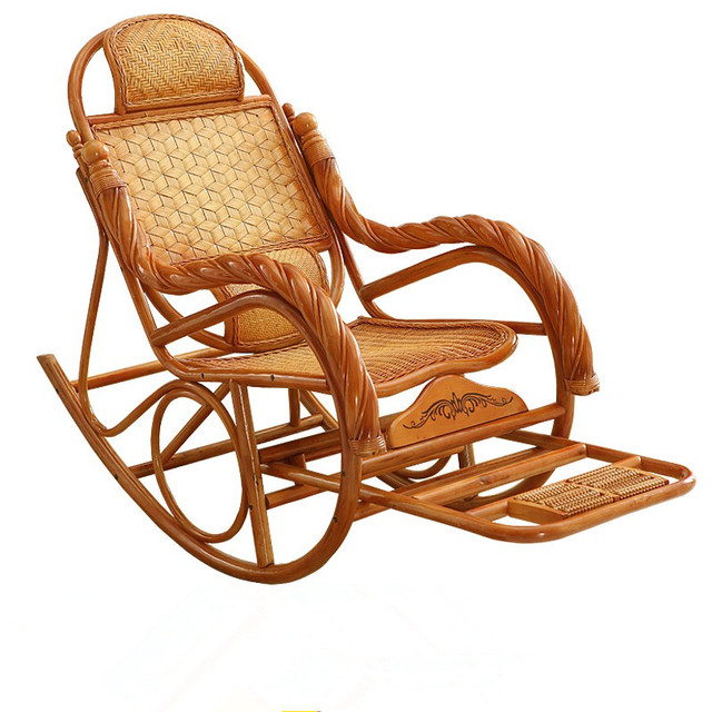 Elegant Luxury Adult Rocking Chair Rattan Wicker Furniture China Indoor Living Room  Glider Modern Easy Lounge Rattan