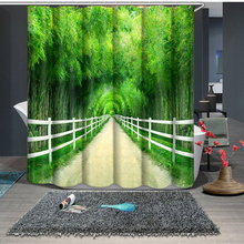 3d Bamboo Forest Street Pattern Shower Curtains Bathroom Curtain Comfortable Thicken Waterproof Thickened Bath