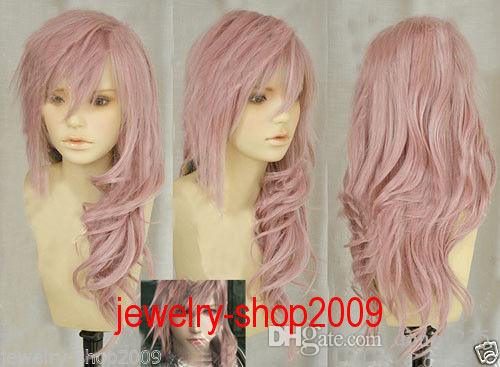 Free Shipping New High Quality Fashion Picture full lace wigs>>New wig Cosplay Lightning serah New Long Mix pink Curly Wig free shipping high quality relaxed multi layered red straight long wigs