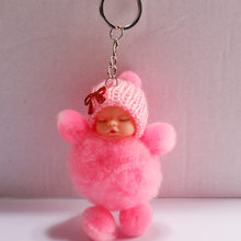 Hot Sale Sleeping Baby Doll Ball Key Chain Car Keyring Holder Bag Pendant Charm Keychain Plush Fur New Cute Women Key(China)