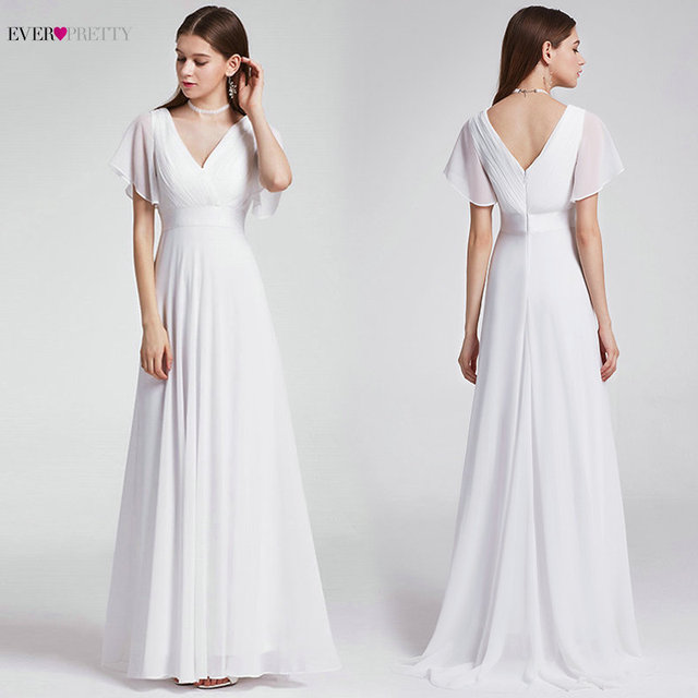 Ever Pretty Cheap Chiffon Wedding Dress Elegant A Line V Neck Flare Sleeve Long Beach Bridal Gown 2019 Robe De Mariee EP09890WH 1