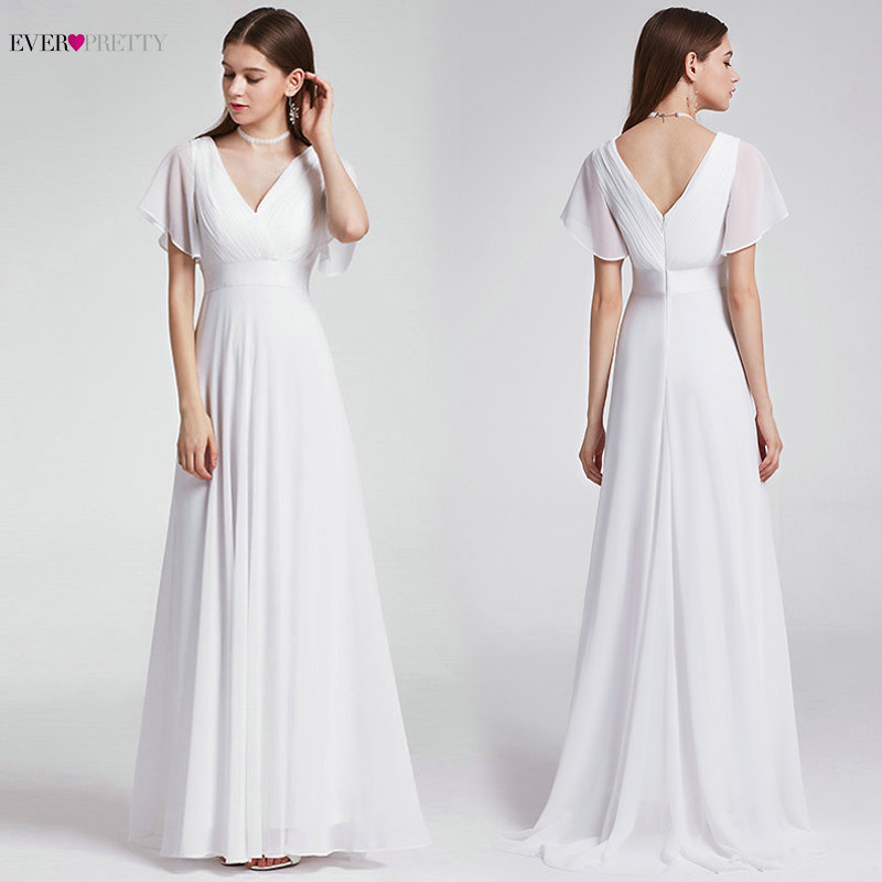 Ever Pretty Cheap Chiffon Wedding Dress Elegant A Line V Neck Flare Sleeve Long Beach Bridal Gown 2020 Robe De Mariee EP09890WH