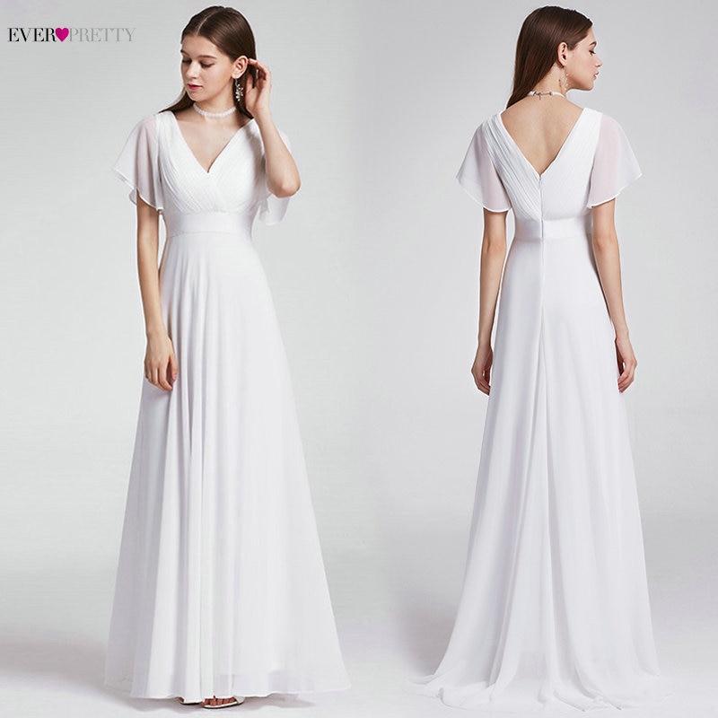 Ever Pretty Cheap Chiffon Wedding Dress Elegant A Line V Neck Flare Sleeve Long Beach Bridal Gown 2020 Robe De Mariee EP09890WH