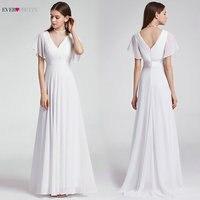 Ever Pretty Cheap Chiffon Wedding Dress Elegant A Line V Neck Flare Sleeve Long Beach Bridal Gown 2019 Robe De Mariee EP09890WH