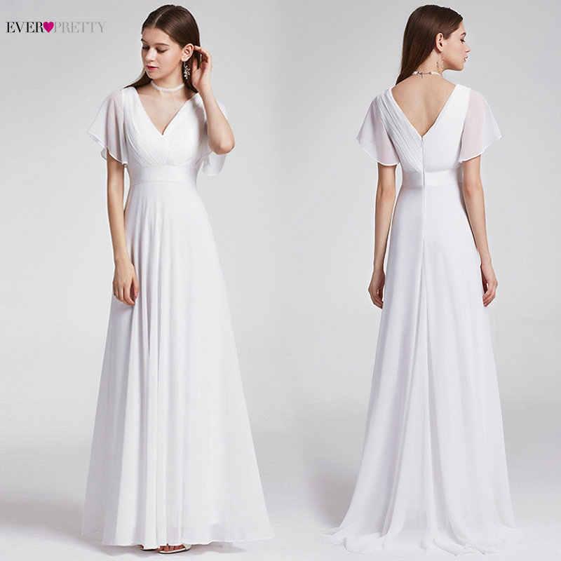 Sempre Bonita Chiffon Barato Vestido de Noiva Elegante A Linha V Neck Alargamento Da Luva Longa Praia Vestido De Noiva 2019 Robe De mariee EP09890WH