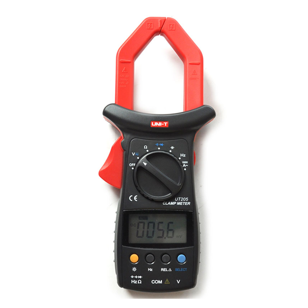 UT205 3 3/4 Digital Auto Range Digital Clamp Multimeters Capacitance1000A 600V Clamp Meter UNI-T Ammeter Voltmeter LCD Backlight