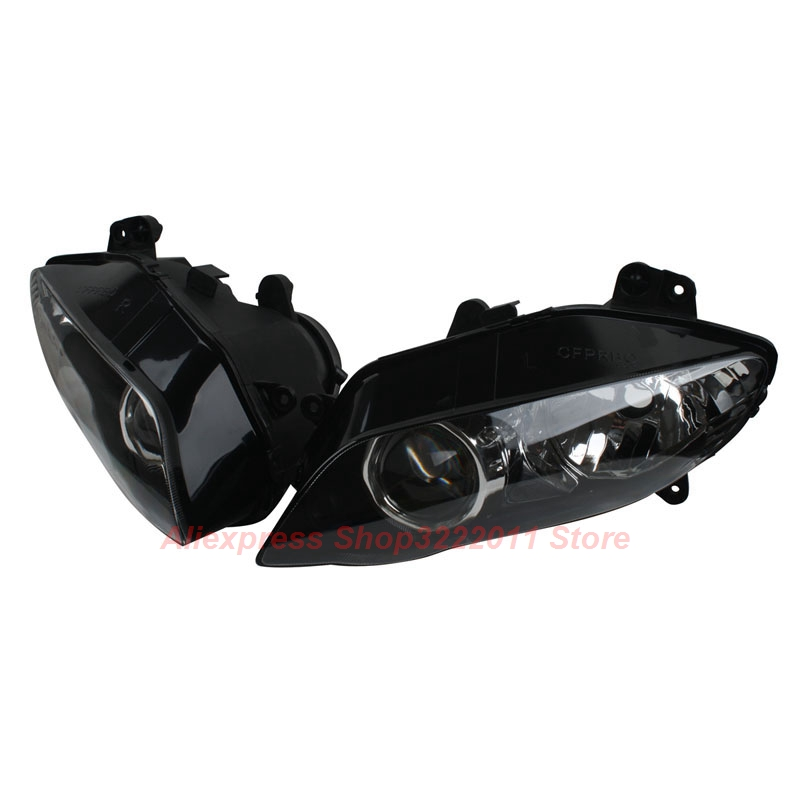 Clear Lens Motorcycle Plastic Front Light Lamp Case For Yamaha YZF-R1 YZF R1 2004 2005 2006 Headlight Housing Set clear lens motorcycle plastic front light lamp case for kawasaki ninja zx6r 2000 2001 2002 headlight housing set
