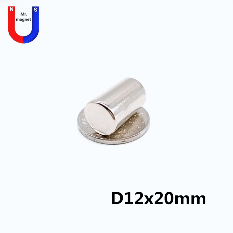 Bulk 50pcs <font><b>12x20</b></font> magnet bar magnetic product NdFeB round magnets D12x20 permanent material 12*20 super strong neodymium magnet image