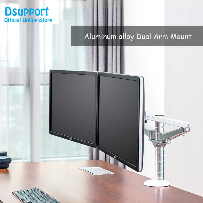 "OA-4S 10-27"" Double arm dual screen desktop mount monitor holder table stand pad desk mount stand monitor bracket shelf"