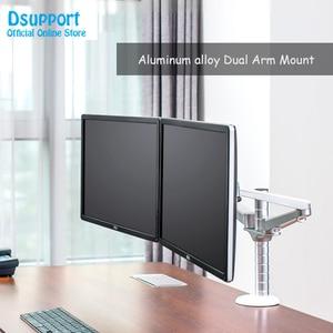 Image 1 - Настольная подставка для монитора с двумя рычагами, 10 27 дюймов, настольная подставка с двойным экраном, держатель для монитора, настольная подставка, полка для монитора