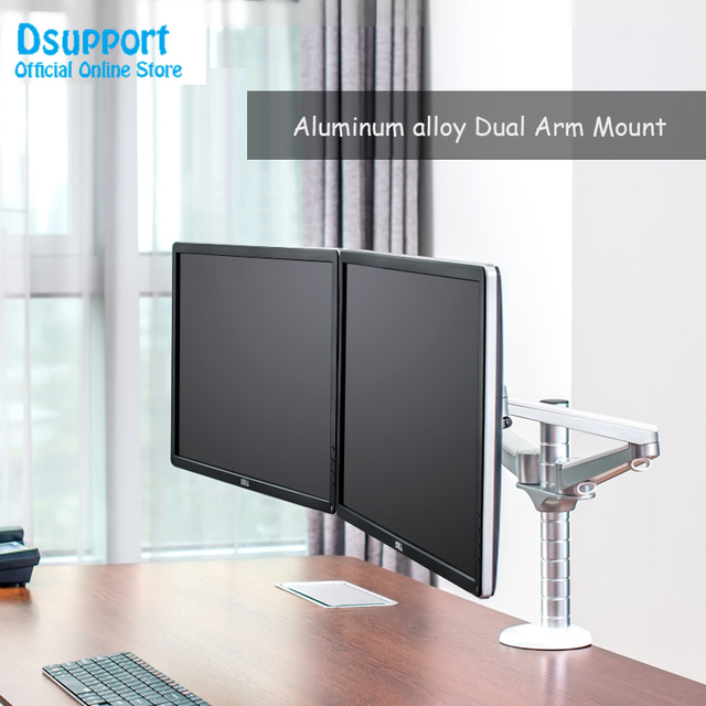 """OA 4S 10 27"""" Double arm dual screen desktop mount monitor holder table stand pad desk mount stand monitor bracket shelf"""