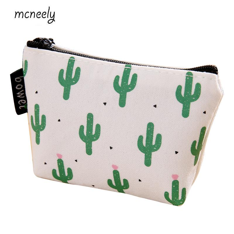 2018 Excellent Quality New Style Cactus Coin Purses Ladies Canvas Wallet Small Zipper Pouch Cute Portable Key Coin Purse Bag 2017 new coin purses wallet ladies 3d printing cats dogs animal big face change fashion cute small zipper bag for women pouch