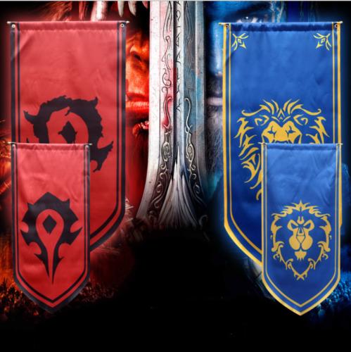 130x57cm versão aliança leão & horda mundo da guerra craf jogo filme grande horda bandeira bandeira aliança horda cosplay