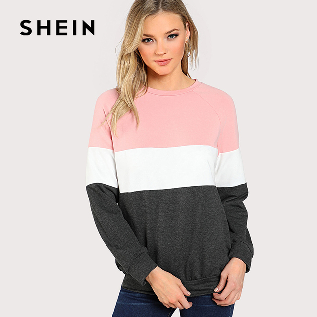 SHEIN Cut And Sew Raglan Sleeve Sweatshirt, Autumn New Fashion Women's Casual Clothes,Pink/White/Grey Color Block Round Neck