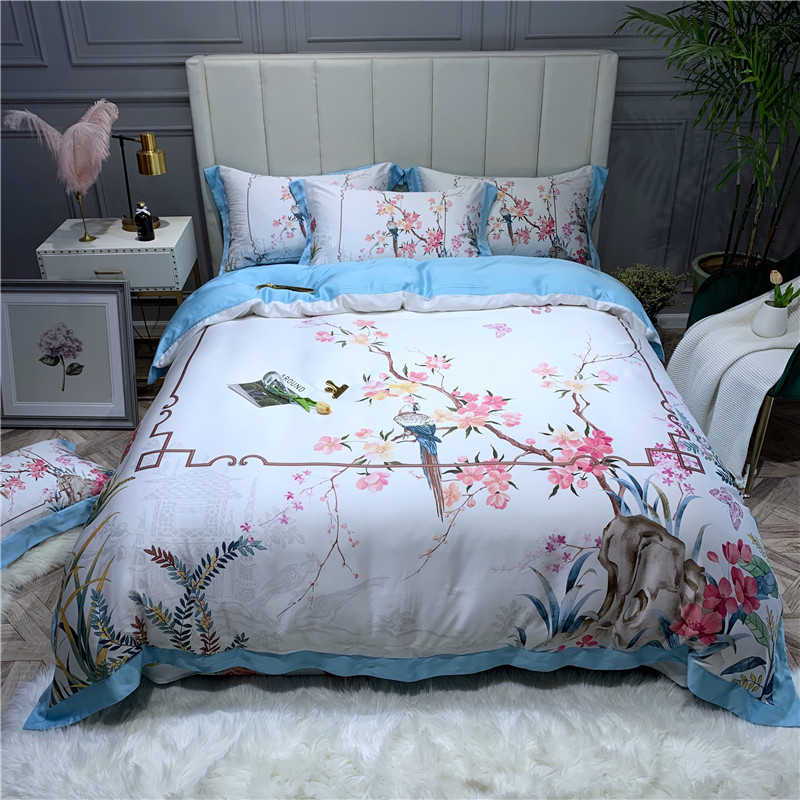 Birds Flowers printed Tencel lyocell 4Pieces Duvet cover Softest Silky Breathable for Naked sleep Queen King
