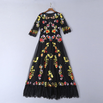 High quality designer summer runway Maxi dress O-Neck short-sleeved vintage mesh embroidered lace woman party night long dress