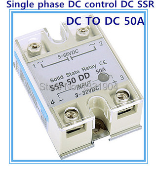 Free shipping 10pcs/lot Single phase solid state relay DC control  DC SSR-50DD 50A SSR relay input 5-60V DC output 3-32V DC