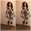 Hot fashion design 2016 full sleeve long rompers sexy print rompers novelty bodycon rompers L0065