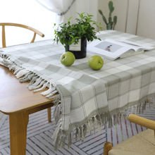 Simple Gray Plaid Print Cotton Linen Table Cloth With Tassels Home Decor Soft Table Cover Tea End Dinner Dustproof Tablecloth