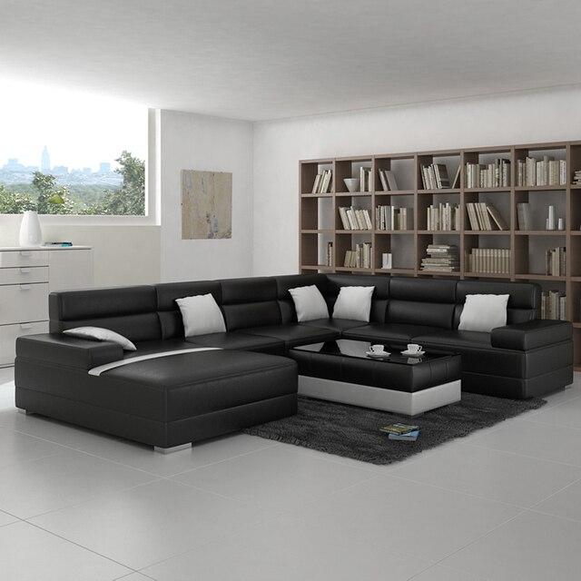 Desain Modern Hitam U Bentuk Ruang Tamu Sofa Set Di Set Ruang Tamu