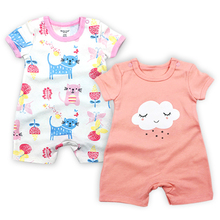 2 Pack Baby Girls Clothes Babies Romper Newborn Overalls Toddler Coveralls 3-24 Months Summer Short Sleeve Infant Boys Clothing