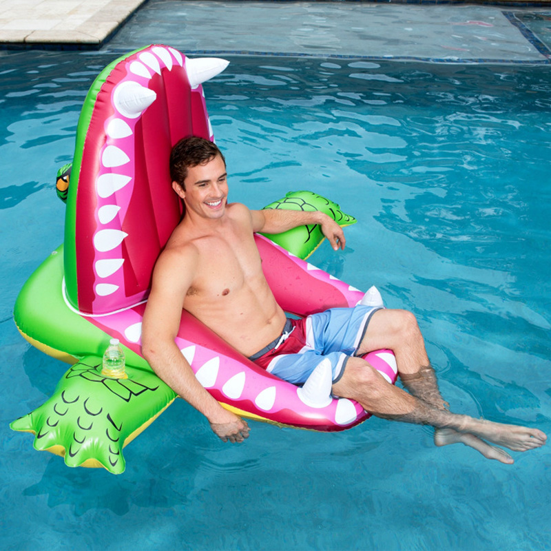 160cm Giant Man Eating Shark Floats Green Crocodile Swimming Ring Water Chair Air Mattress Pool Party Toys Lounger boia in Swimming Rings from Sports Entertainment