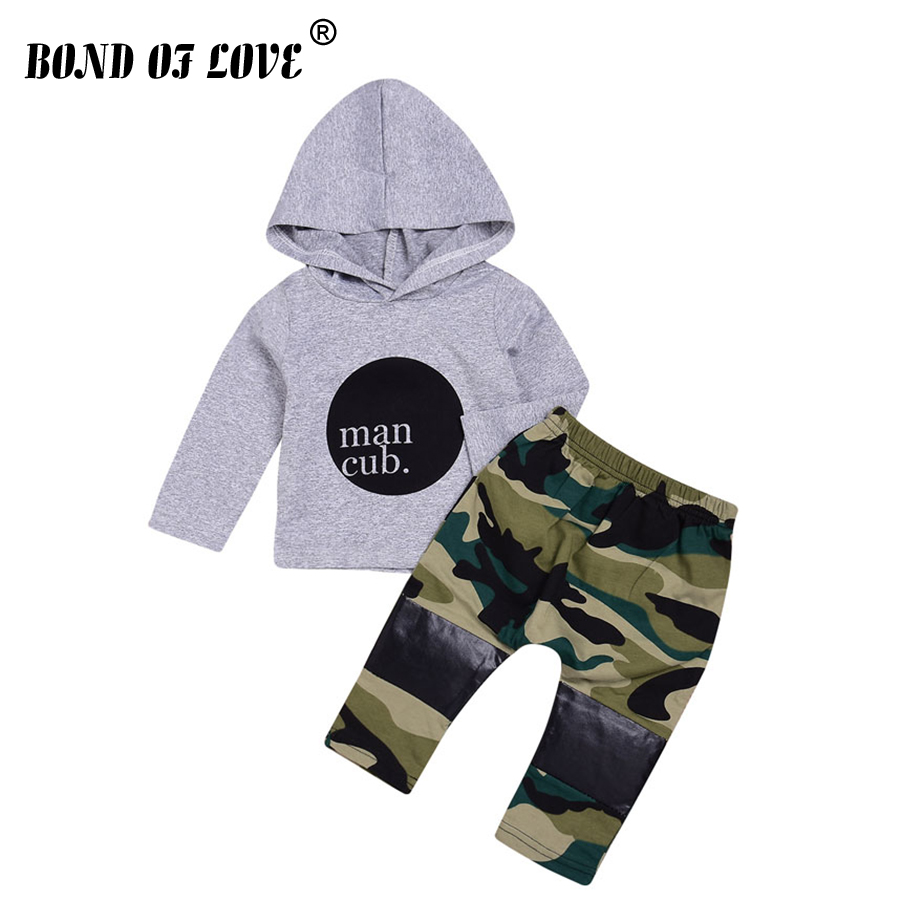 New Spring Autumn Kid Clothing Set Baby Boys Girls Letter Cotton Clothing Sets Hooded Sweater Camouflage Pants 2pc Kids Clothes kid girls sweater lace dress 2018 spring