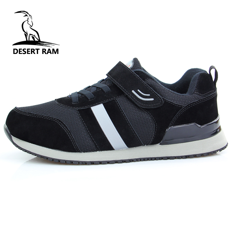DESERT RAM Elderly Shoes Men High Top Father Mother Safety Walking Sneakers Anti-Slip Soft Rubber Mesh Mens Shoe Black Footwear soft and comfortable work shoe covers slip resistant mens safety footwear used in restaurant sea food shop kitchen chef shoes