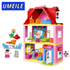UMEILE Brand Duplo Friends Pink City Girl Princess Figure Family House Colourful Kids Building Block Educational