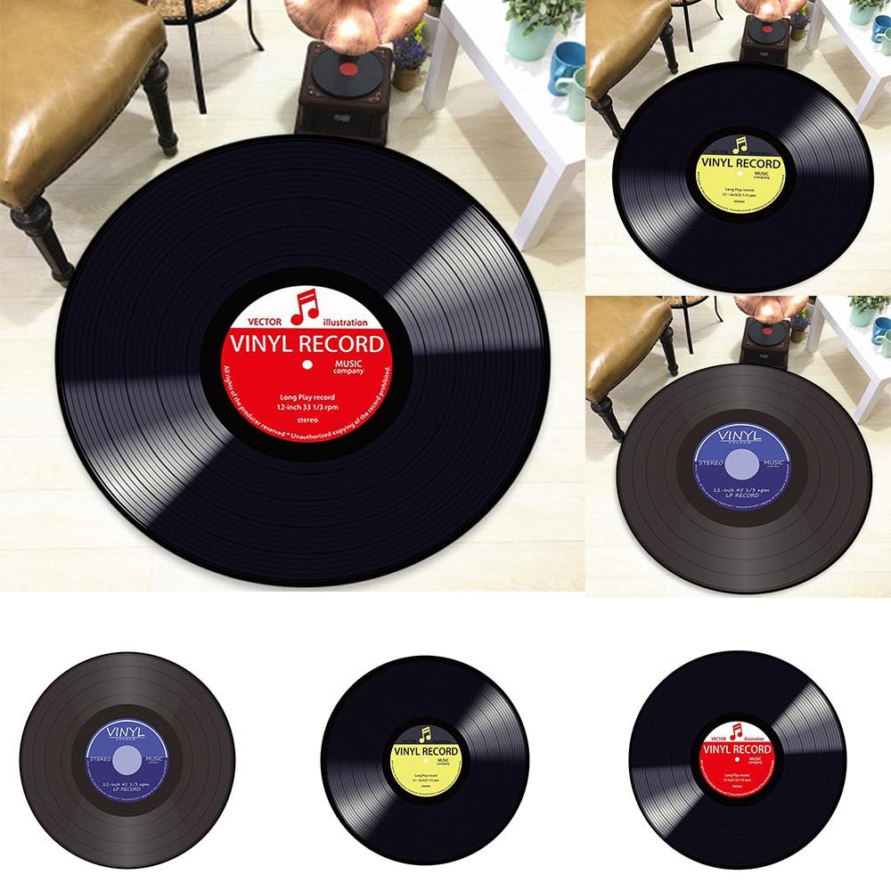 Vinyl Record Printed Soft Fabric Round Floor Mat Carpet Room Area Bedroom Rug Alfombra Peluda De Lana Artificial