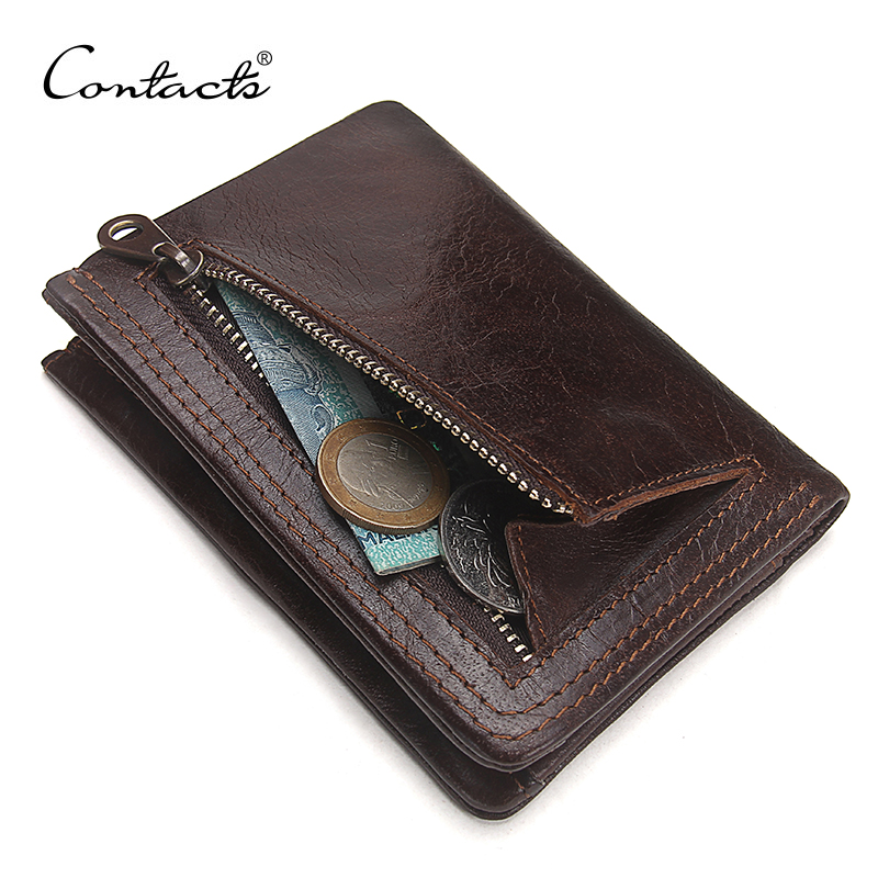 CONTACT'S Men Casual Genuine Cowhide Leather Wallet Vintage Design Small Coin Purse Male Short Slim Zipper Wallets Dropshipping