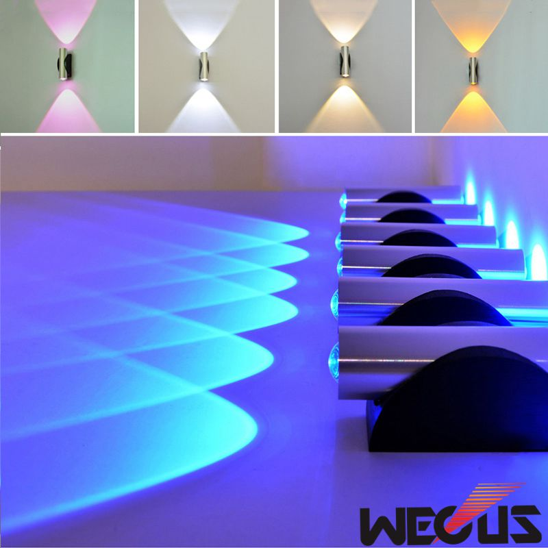 Indoor 2W LED Wall Lamp, AC90-265V, Acrylic Lampshade Material Aluminum Sconce,bedroom Decorate Wall Light