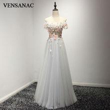 VENSANAC New A Line 2017 Lace Appliques Boat Neck Long Evening Dresses Short Cap Sleeve Elegant Draped Flowers Party Prom Gowns