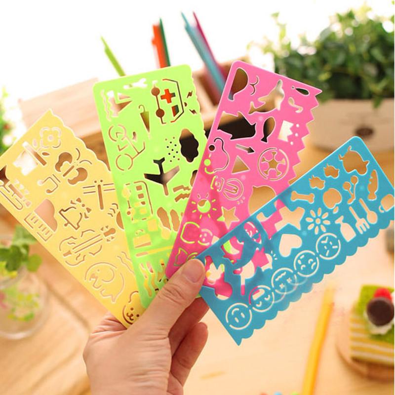 4 Pcs Korea Stationery Candy Color Ruler Oppssed Drawing Template Office Painting Supplies