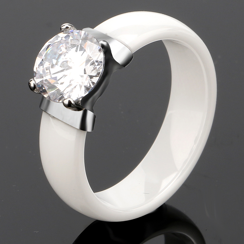 New Fashion Ceramic Jewelry Sets Big Crystal Carat Ring & Earrings for Women Black White Ceramic Sets Wedding Engagement Jewelry