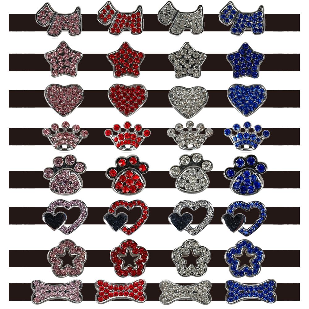 (50pcs/lot) Mixed wholesale Fashion Colorful 10MM Rhinestone Personalized Dog Pet Cat Collar Charms