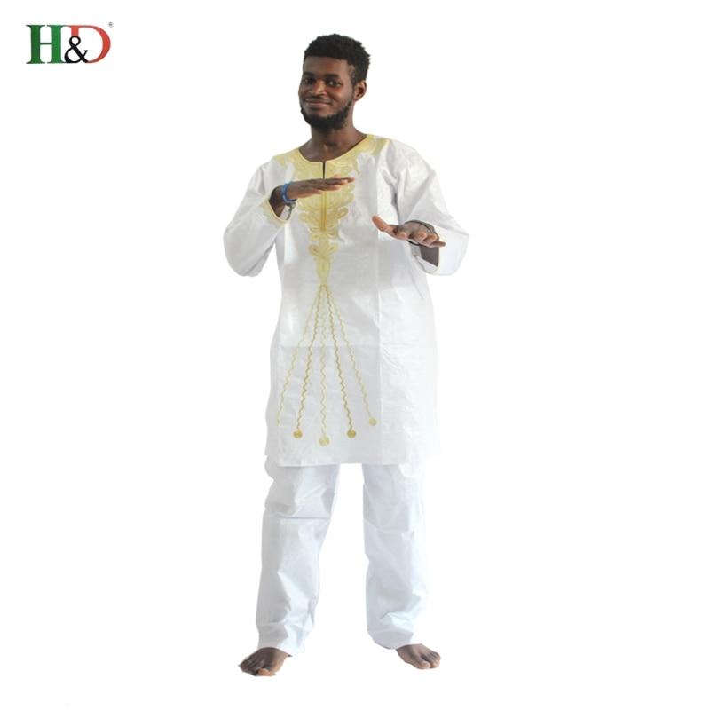 H & D 2017 tradisjonelle afrikanske herreklær Nye motedesigner Bazin - Nasjonale klær - Bilde 3