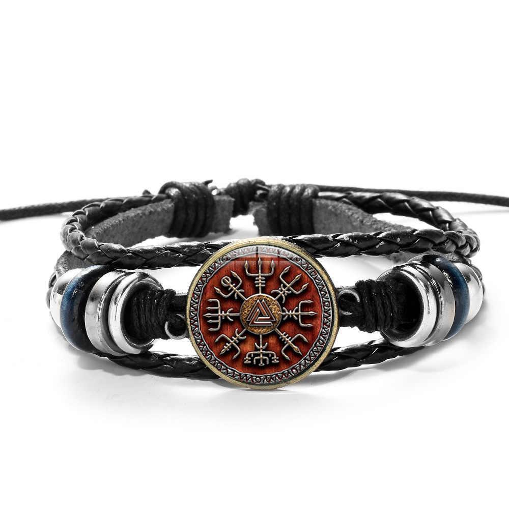 SIAN Viking boussole multicouche bois perle Bracelet hommes décontracté mode tressé en cuir Bracelets Bracelets rétro Punk Wrap Bracelet