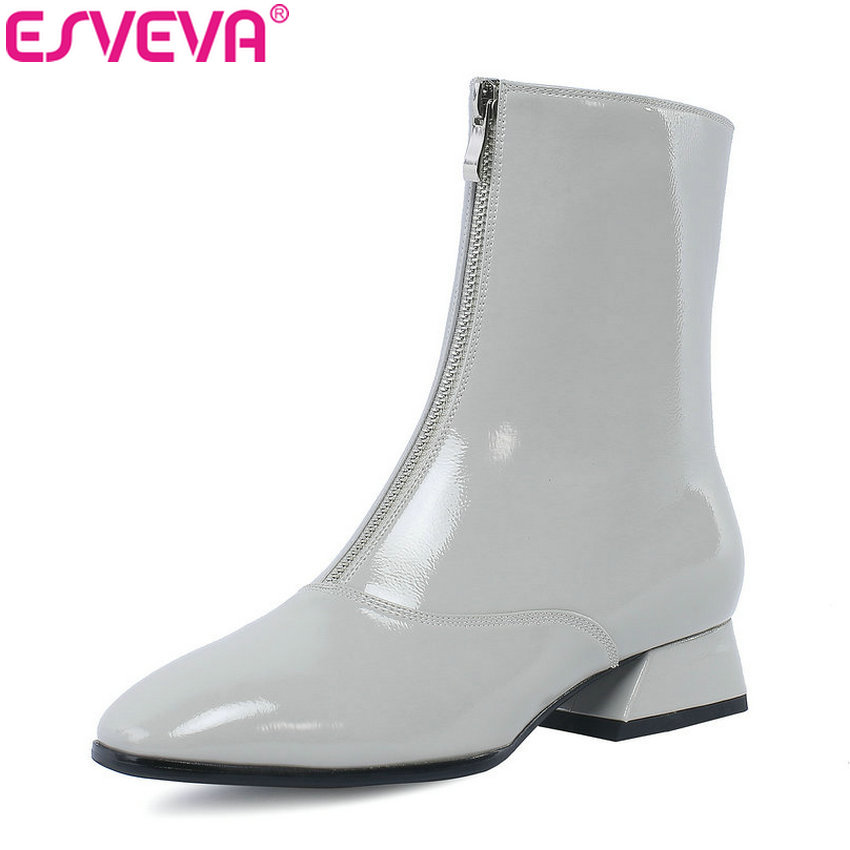 ESVEVA 2019 Med Heels Women Boots Western Style Autumn Shoes Zip Ankle Boots Square Toe Square Heels Woman Shoes Size 34-42 stainless steel automatic coffee mixing cup electric blenders lid self stirring mug protein shaker multifunction smart blender