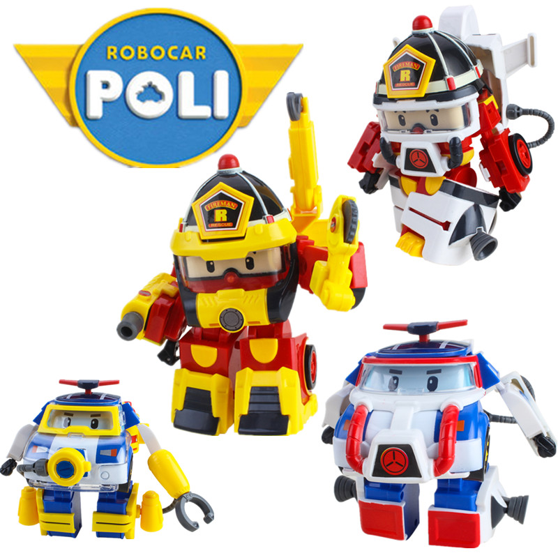 Kids Mini Classic Transformation Police Cars Robot Educational Toys For Children Gifts Plastic Figures cars for children
