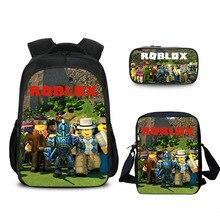 c4508573fa0f0 3 adet/takım Sıcak Oyun Roblox Şekil Oyuncaklar Çocuk Sırt Çantaları  Pencase Çanta Kitap Çantası