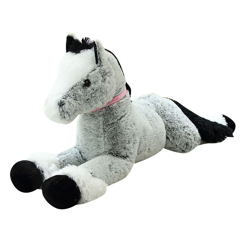Plush-Toys Horse Big Stuffed Birthday-Gifts Brown Fluffy Realisitic Children And Grey