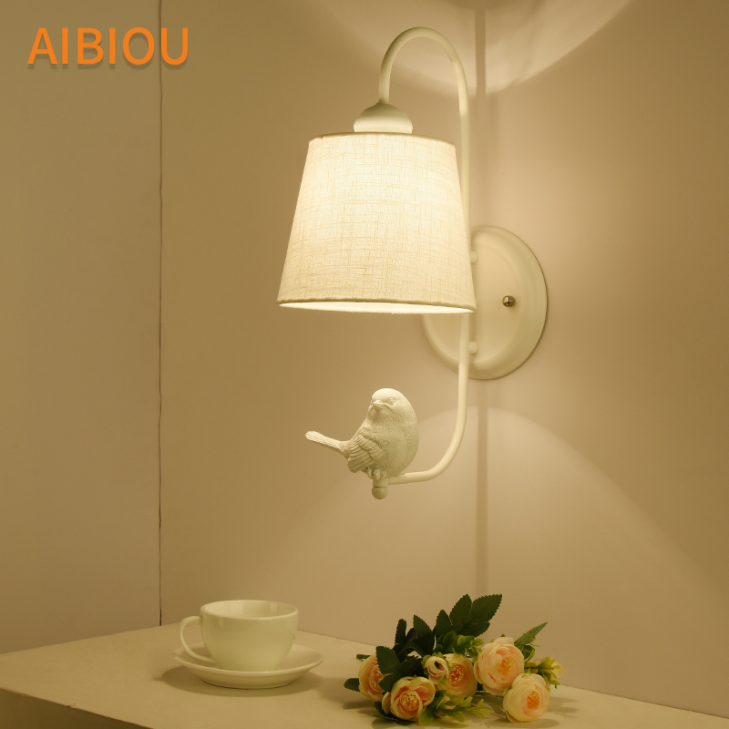 AIBIOU White Birds LED Wall Lamp Fabric Lampshade Wall Lights Modern Cloth Bedside Lighting E27 Indoor Bedroom Lamps