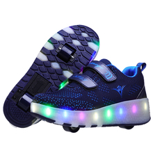 Led Man Women Shoes with Two Wheels Dark Blue USB Charging Fashion Girls