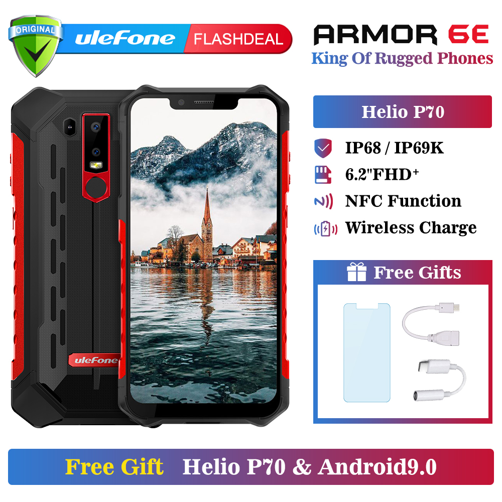 Ulefone Armor 6E Waterproof IP68 NFC Rugged Mobile Phone Helio P70 Otca-core Android 9.0 4GB+64GB Wireless Charge Smartphone(China)