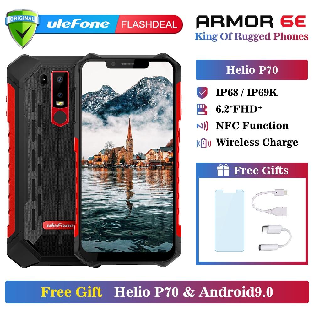 Téléphone portable robuste Ulefone Armor 6E étanche IP68 NFC Helio P70 otca-core Android 9.0 4 GB + 64 GB Smartphone de charge sans fil