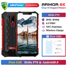 Ulefone Armor 6E Waterproof IP68 NFC Rugged Mobile Phone Helio P70 Otca-core Android 9.0 4GB+64GB wireless charge Smartphone