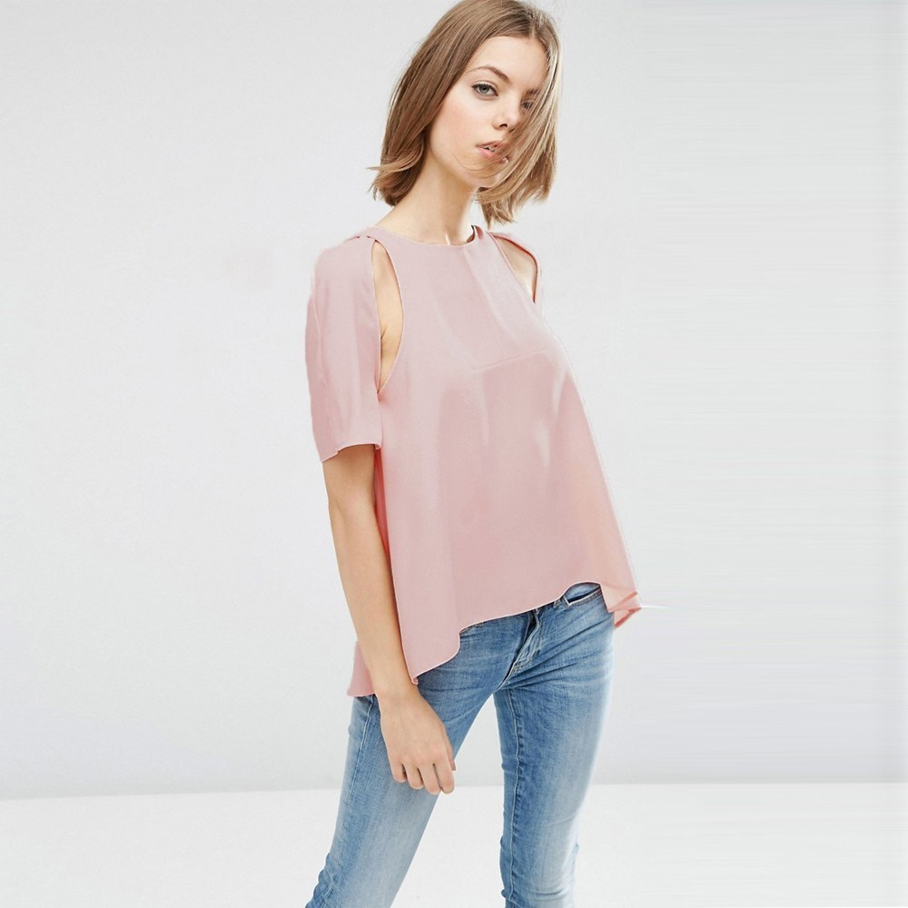 HDY Haoduoyi Femme Summer Tees Stylish Simple Casual Tops O-Neck Short Split Sleeves Asymmetric Characteristic T-Shirt