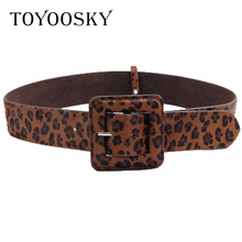 Women Wide Belt For Coat Leopard Luxury Black Red Print Horse Fur Genuine Leather for Lady